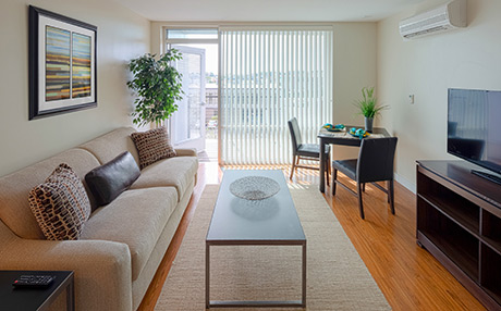 An abundance of natural light along with soft finishes and colors provide a soothing respite for residents.