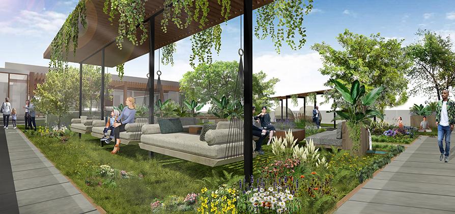post-COVID hotel garden